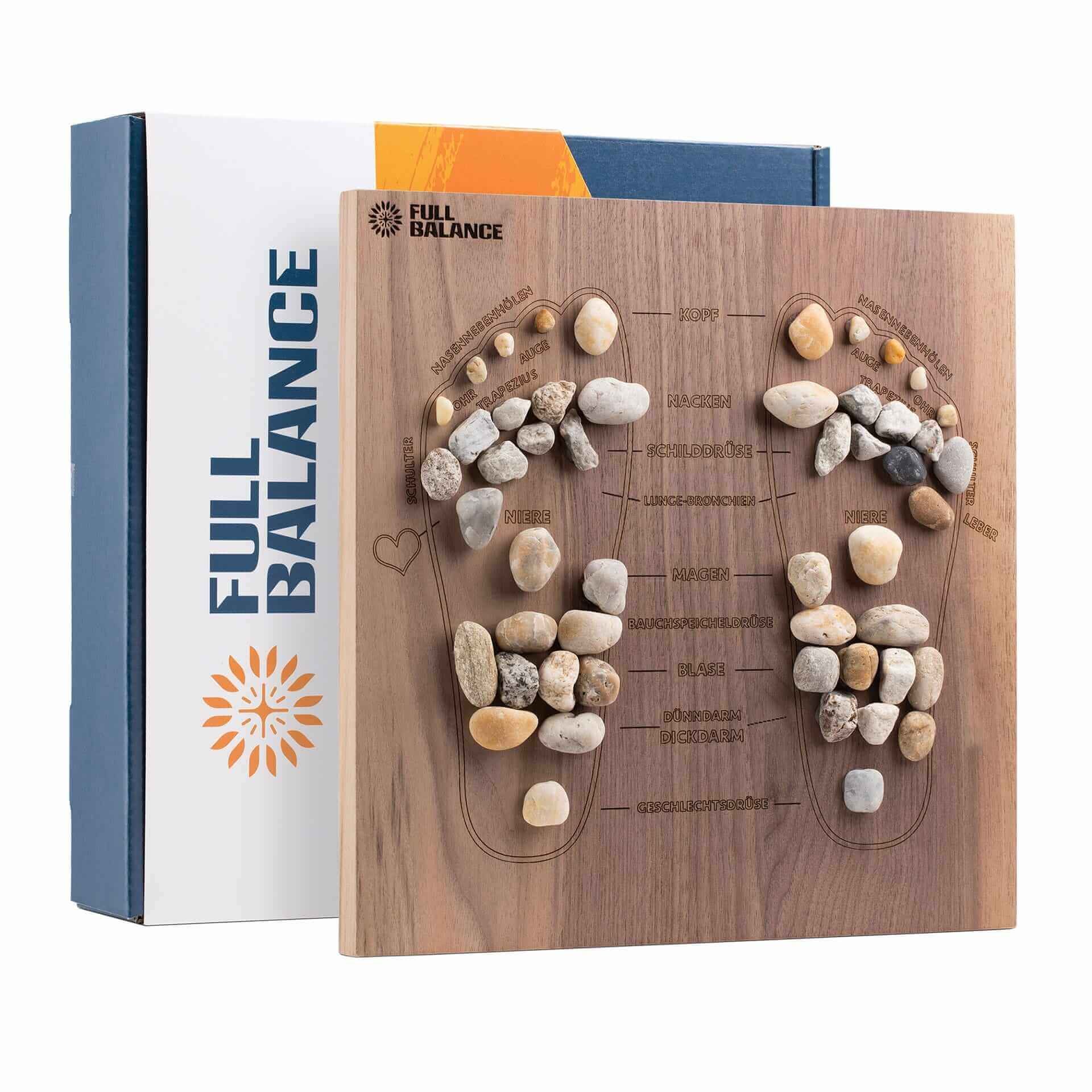 Fußreflexzonenmassage Brett Pine & Stone für zu Hause aus Nussholz