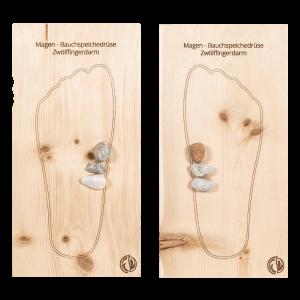 Fußreflexzonenmassage Brett Magen, Bauchspeicheldrüse, Zwölffingerdarm Zirbe Links und Rechts